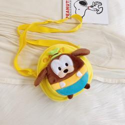 Сумка велюровая детская, сумка через плечо, желтая. Собачка Гуфи.