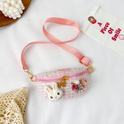Сумка твидовая детская, поясная сумка, розовая. Гламурный зайчик.