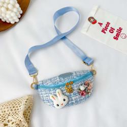 Сумка твидовая детская, поясная сумка, голубая. Гламурный зайчик.
