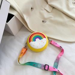 Сумка силиконовая детская, сумка через плечо, желтая. Пончик-радуга.