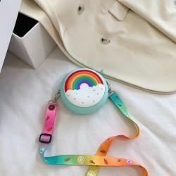 Сумка силиконовая детская, сумка через плечо, голубая. Пончик-радуга.