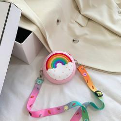 Сумка силиконовая детская, сумка через плечо, розовая. Пончик-радуга.