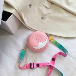 Сумка силиконовая детская, сумка через плечо, розовая. Ракета в космосе.