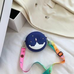 Сумка силиконовая детская, сумка через плечо, синяя. Ракета в космосе.