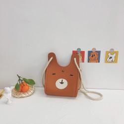 Сумка детская, сумка через плечо, коричневая. Веселый заяц.