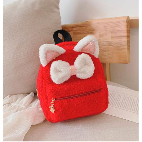 Детский меховой рюкзак, рюкзак тедди, красный. Мягкий котенок.