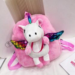Детский велюровый рюкзак, розовый. Крылатый единорог.