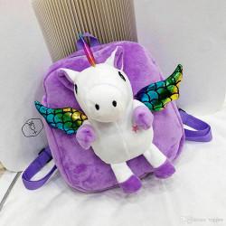 Детский велюровый рюкзак, сиреневый. Крылатый единорог.