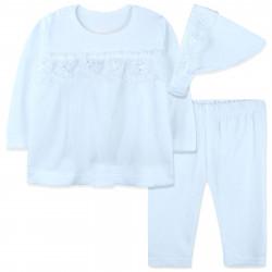 Комплект 3 в 1 для новорожденной девочки, белый. Нежное кружево.