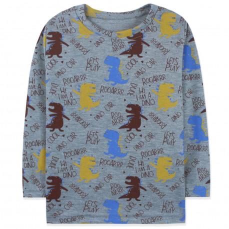 Кофта для мальчика, реглан, серый. Ревущие динозавры.