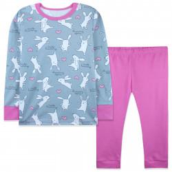 Пижама для девочки, серая. Зайчики и сердечки.