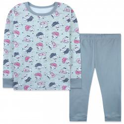 Пижама для девочки, серая. Кошки в чашках.