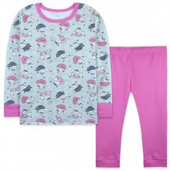 Пижама для девочки, розовая. Кошки в чашках.