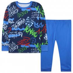 Пижама для мальчика, темно-синяя. Граффити.