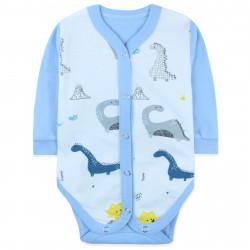 Боди на кнопках для мальчика, голубой. Динозавры и вулкан.