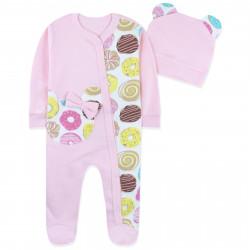 Человечек с шапочкой для девочки, розовый. Миннм Маус и пончики.