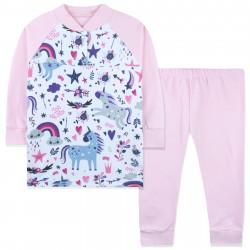 Пижама для девочки, розовая. Веселый единорог.