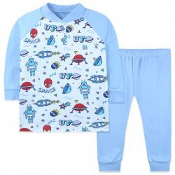 Пижама для мальчика, синий. Робот и НЛО.