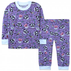 Пижама для девочки, фиолетовая. Панда-единорог.