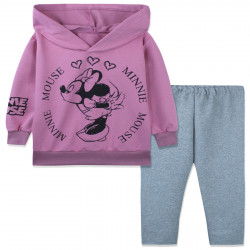 Костюм для девочки, пыльно-розовый. Модница Минни Маус.