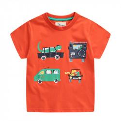 Футболка для мальчика, оранжевая. Динозавры в машине.