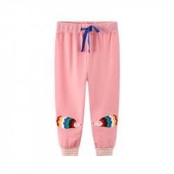 Штаны для девочки, розовые. Цветные ёжики.
