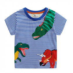 Футболка для мальчика, синяя. Хищные динозавры.