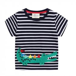 Футболка для мальчика, черная. Милый крокодильчик.