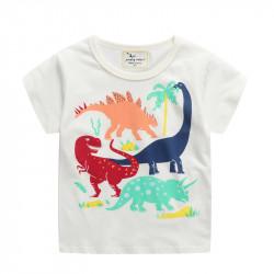 Футболка для мальчика, белая. Мир динозавров.