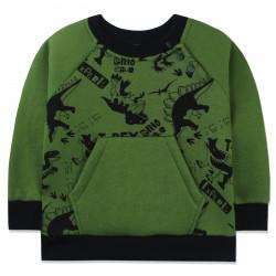 Утепленная кофта для новорожденного мальчика, джемпер, зеленая. Древние динозавры.