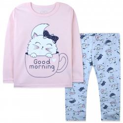Пижама для девочки, розовая. Кошечка в чашке.