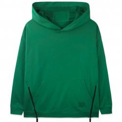 Худи оверсайз с минимальным начесом, кофта с капюшоном, зеленый. Молнии.