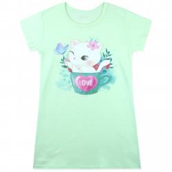 Ночная рубашка для девочки, ночнушка, салатовая. Кошка в чашке.
