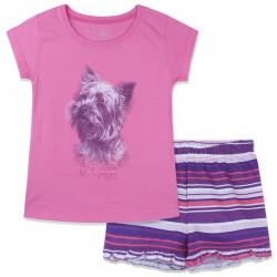 Пижама для девочки, розовый. Счастливый щенок.