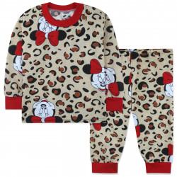 Пижама для девочки, бежевая. Леопард и Минни Маус.