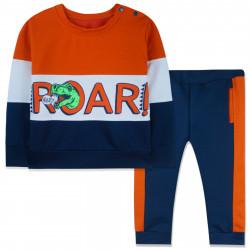 Костюм 2 в 1 для мальчика, спортивный, оранжевый. Рычащий Рекс.