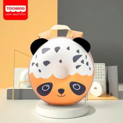 Детский каркасный рюкзак, оранжевый. Панда - пончик.