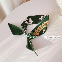 Лента для волос, платок, твилли, зеленая. Коровки и клеточка. 88*6,5 см.