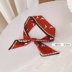 Лента для волос, платок, твилли, красная. Снуппи. 88*6,5 см.