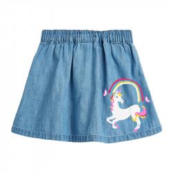 Юбка для девочки, джинсовая. Единорог и радуга.