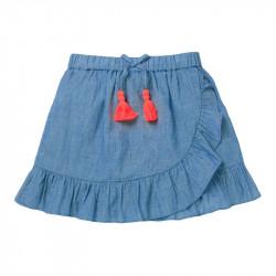 Юбка для девочки, джинсовый. Яркие кисточки.
