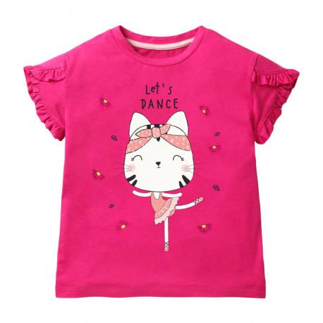 Футболка для девочки, малиновая. Кошечка-балерина.