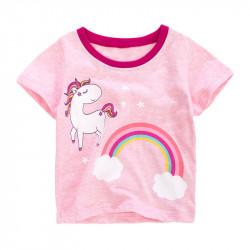 Футболка для девочки, розовая. Единорожек и радуга.