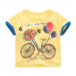 Футболка для девочки, желтая. Велосипед.