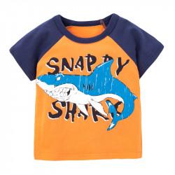 Футболка для мальчика, оранжевая. Резкая акула.