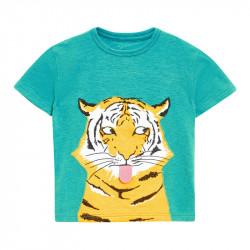 Футболка для мальчика, зеленая. Тигр с языком.