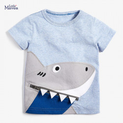 Футболка для мальчика, голубая. Хищная акула.