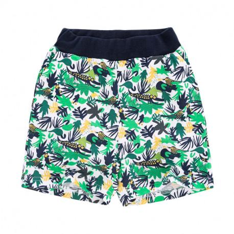 Шорты для мальчика, зеленые. Крокодилы в тропиках.