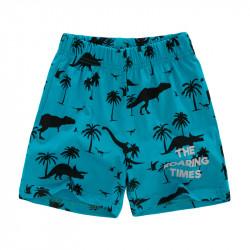 Шорты для мальчика, бирюзовые. Динозавры и пальмы.