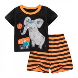 Костюм для мальчика 2 в 1, черный. Слон-баскетболист.